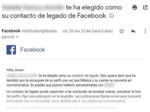 Ejemplo de mensaje que recibe la persona designada como contacto de legado en Facebook.